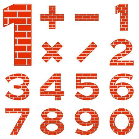 signos matematicos: Los signos de los n�meros y signos matem�ticos decorado con ladrillo rojo. Vectores