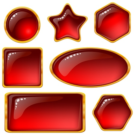 Set of web buttons with gems and golden frames.  Vector