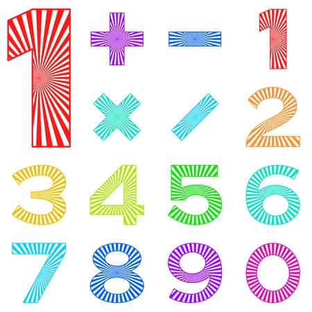 Signs of numbers and mathematical signs decorated with radial rays. Stock Vector - 12480228
