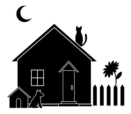 House with dog kennel and kitchen garden, silhouette.