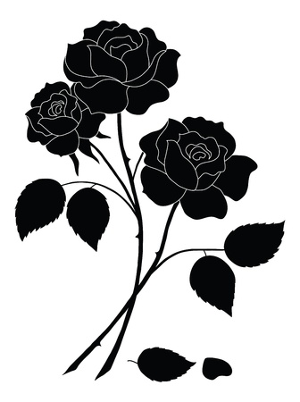 three leaves: Flowers, rose bouquet, love symbol, floral gift, silhouette.