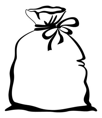 Borsa Pittogramma, legato con una fune con il posto per il testo, silhouette nera. Archivio Fotografico - 12480242