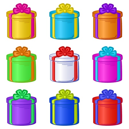 Holiday round gift boxes collection isolated on white background.  Vector