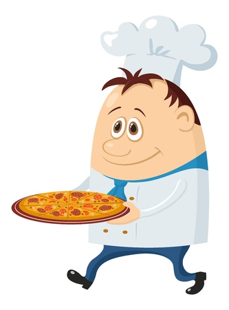 Cook, cartoon chef with pizza isolated over a white background.  Illustration