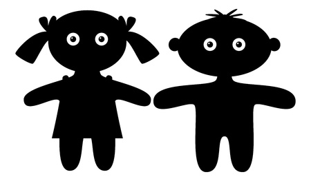 Dolls, little boy and girl, black silhouette, isolated.
