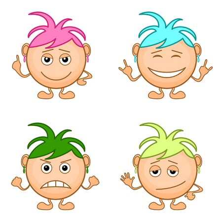 Set of smilies girls with colored hair, symbolising various human emotions.  Vector