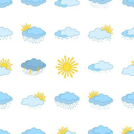Meteorology seamless, weather icons, illustrating various natural phenomena   Vector