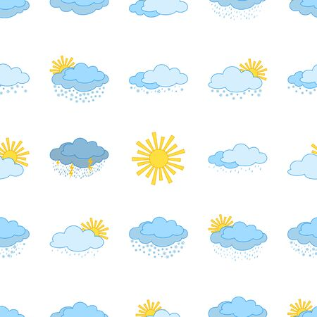 Meteorology seamless, weather icons, illustrating vaus natural phenomena   Stock Vector - 12480427