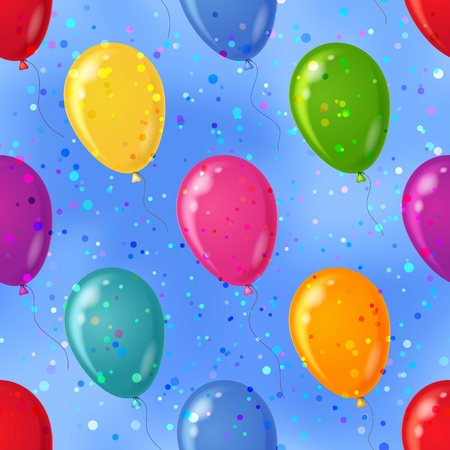 Balloons flying in blue sky, seamless colorful pattern background, Vector
