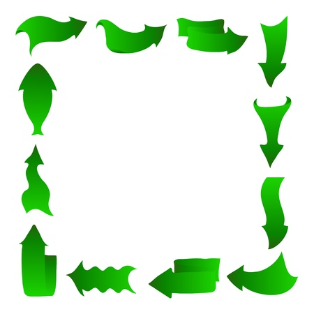 Arrows icons set of different abstract forms, green recycling concept, isolated on white Stock Vector - 12480421