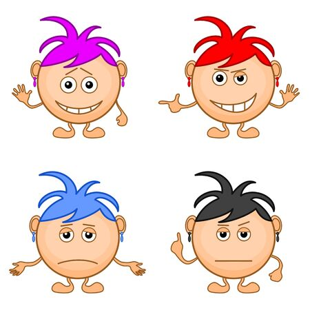 blue hair: Set of smilies girls with colored hair, symbolising various human emotions