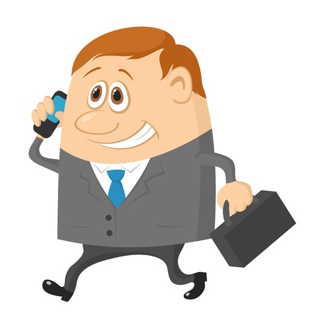 Businessman with a suitcase, happy smiling and running funny cartoon character
