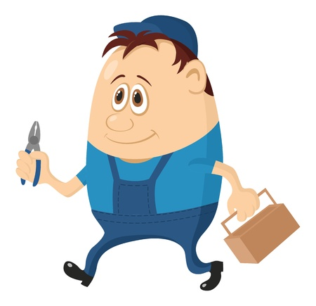 Worker, cartoon character, man in blue uniform and cap with pliers and toolbox