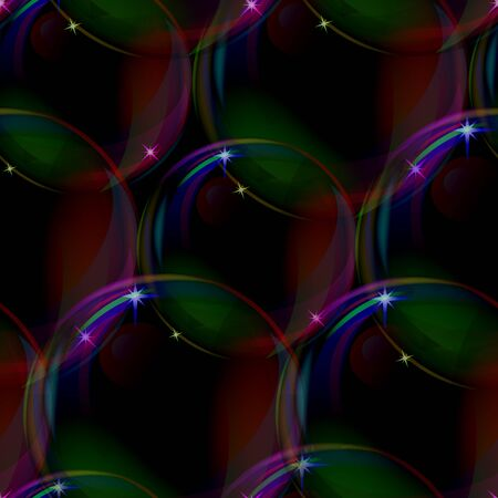 Bubbles seamless abstract background infinitely repeatable on black,  Vector