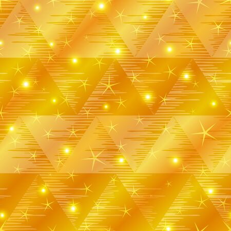 Abstract holiday background, seamless - gold triangles and stars  Stock Vector - 12480610