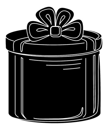 Gift box round, black silhouette, isolated on white Stock Vector - 12480513