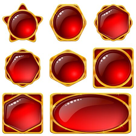 Set of web buttons with gems and golden frames  Vector