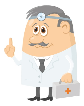 Doctor, cartoon character, man in uniform with first-aid kit and head mirror  Vector