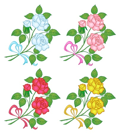 Flowers, rose bouquet, love symbol, floral gift, various colors  Vector Vector