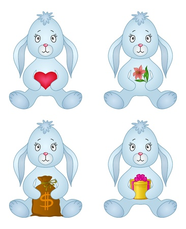 Rabbits, little bunny holds gifts in paws  red heart, holiday box, money bag, flower  Vector Vector