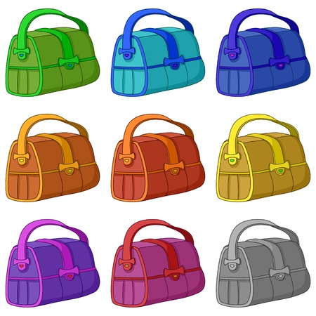 Bag leather, with wide belts, various colors set  Vector Vector