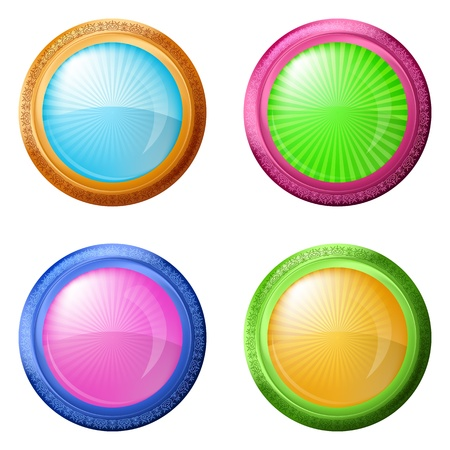 Buttons collection, round glossy blank web elements of various colors  Eps10  contains transparency  Vector Vector