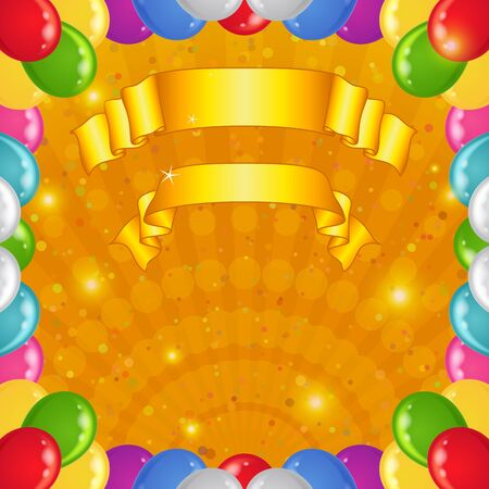 Background with gold beams, frame of various color balloons and banners, eps10, contains transparencies  Vector Vector