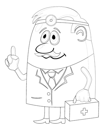 see a doctor: Doctor, cartoon character, man in uniform with first-aid kit and head mirror, contour  Vector Illustration
