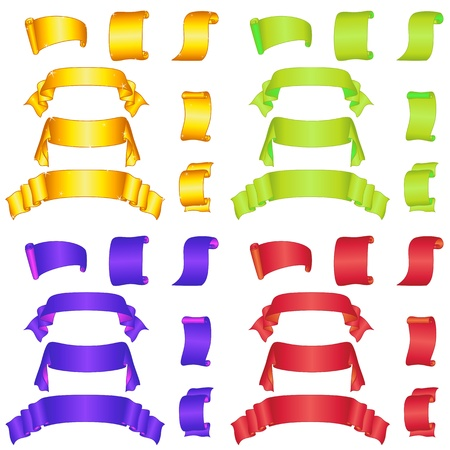 Set of banners modern ribbons and scrolls, different colors   Vector