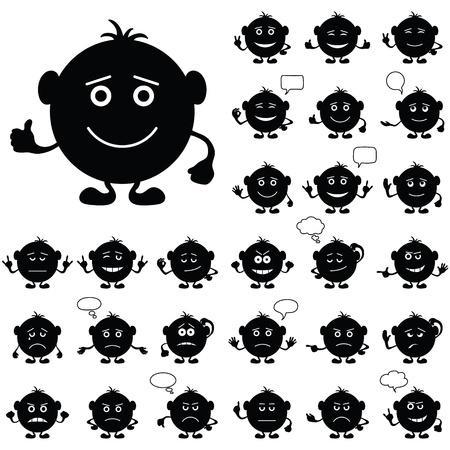 humeur: Smileys, jeu de caract�res ronds noirs et blancs, symbolisant diff�rentes �motions humaines Illustration