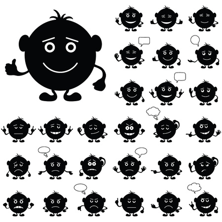 Smilies, set of round black and white characters, symbolising various human emotions Vector