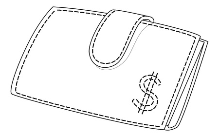 Red leather purse for money with dollar sign Vector