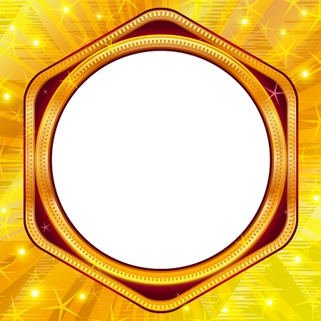 Ornate frame with place for text on abstract gold background   Vector