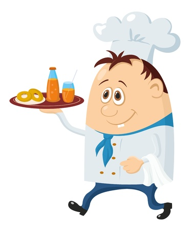 Cook, cartoon chef with drinks on plate isolated over a white background  Vector Vector