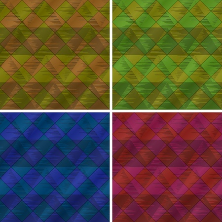 Backgrounds set, abstract seamless with triangles and plaid, eps10, contains transparencies  Vector Vector