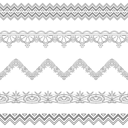 Pattern, abstract border for background, seamless black contour ornament  Vector Vector