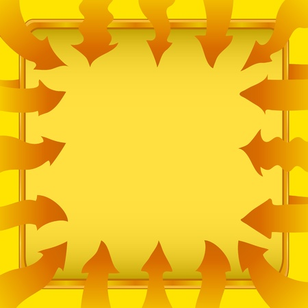 Background - frame of yellow different abstract arrows and tabl Vector