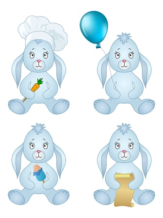 Rabbits, little bunny holds gifts in paws  holiday balloon, ice cream, carrot, scroll  Vector