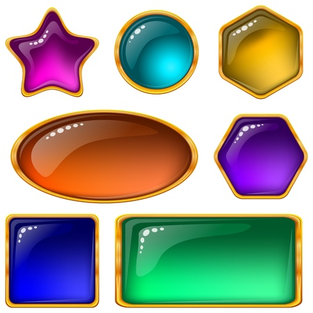 golden frames: Set of web buttons with gems and golden frames, eps10, contains transparencies  Vector