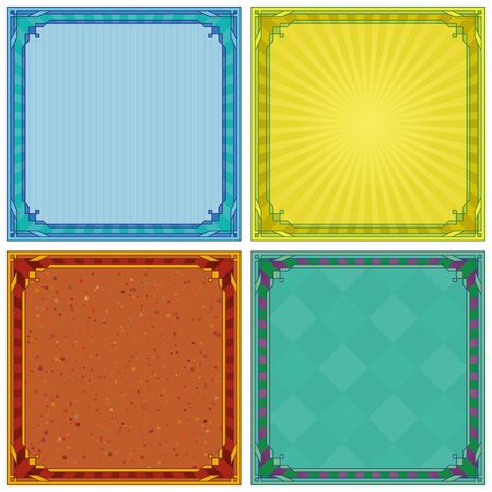 Abstract background with square symmetric frame, set  Vector