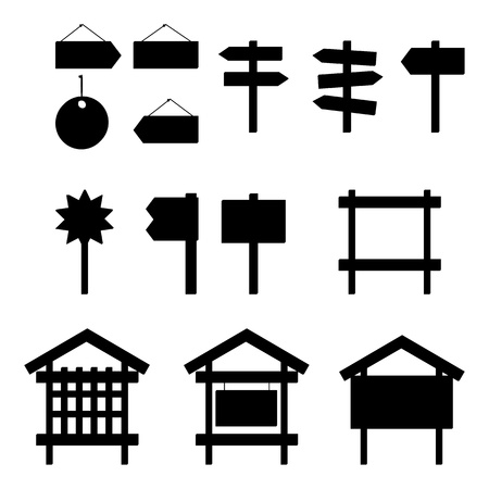 signboard form: Set of different billboards and signs, black silhouette pictograms  Vector Illustration