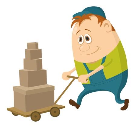 Porter con carro de equipaje, personaje de dibujos animados, el hombre en uniforme verde y gorra Ilustración de vector