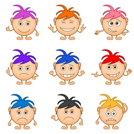 Set of smilies girls with colored hair, symbolising vaus human emotions   Stock Vector - 13518322