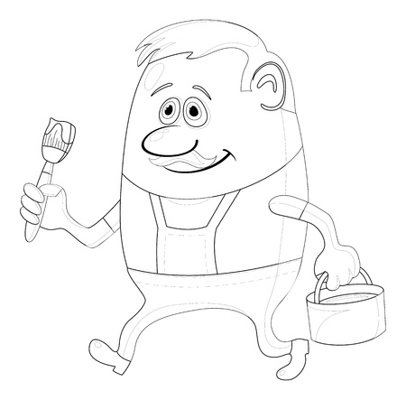 Painter, cartoon character, man in uniform with brush and bucket, contour illustration Vector