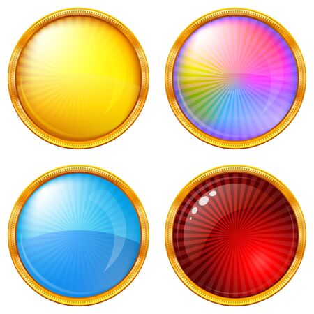 Buttons collection, round glossy blank web elements of various colors, illustration Stock Illustration - 13626101