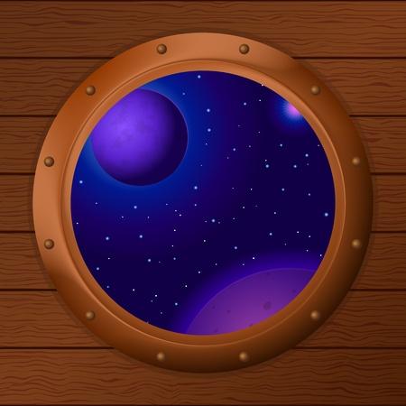 ventana ojo de buey: Espacio, cielo azul oscuro, los planetas y las estrellas en una ventana de la nave espacial de bronce - Ojo de buey en un vector de pared de madera