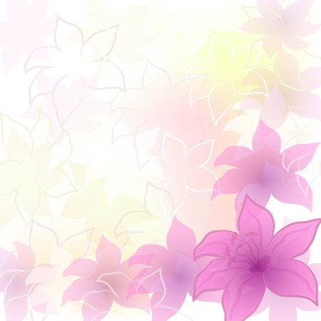 Abstract floral background with symbolical pink flowers and contours  contains transparencies Vector