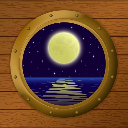 Night sea landscape, star sky and moon in a bronze ship window - porthole in a wooden wall  Vector