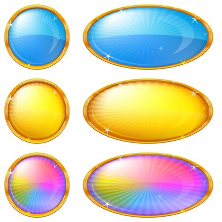 Buttons collection, round and oval glossy blank web elements of various colors, eps10, contains transparencies  Vector photo