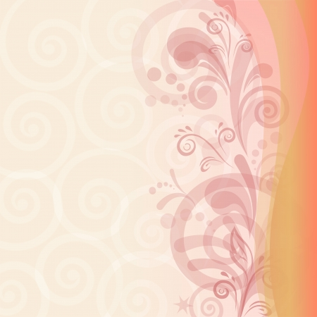 Abstract pink and orange background with symbolical flower and figures  Vector